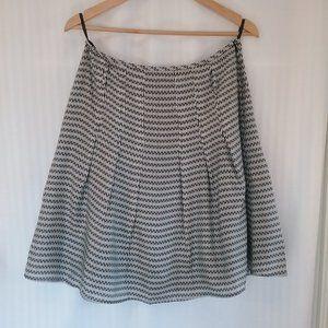 Esprit Pleated Black White 100% Silk Skirt. 8 New!